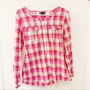Gap pink plaid popover blouse top shirt